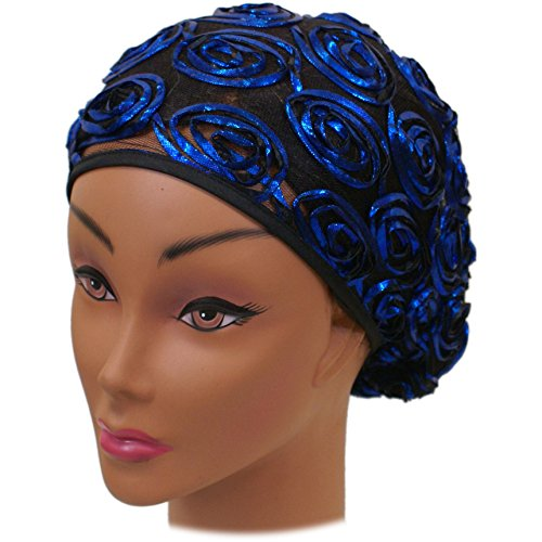 Metallic Rosettes - SSK Beautiful Metallic Turban-style Head Wrap (Blue Rosettes)