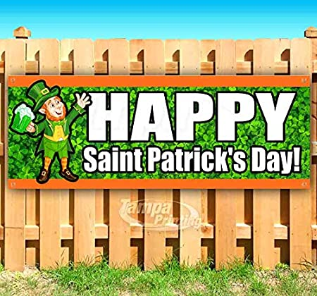 Store Patricks Day 13 oz Heavy Duty Vinyl Banner Sign with Metal Grommets Flag, Advertising New Happy ST Many Sizes Available