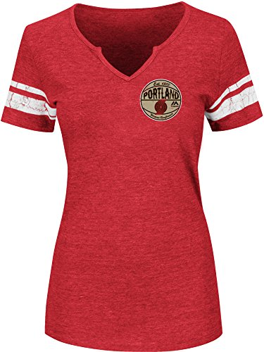 NBA Portland Trail Blazers Women's Never Defeated Short Sleeve Notch Neck Tee, Small, Athletic Red Heather/White