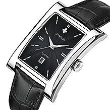 WWOOR8017 Leisure Men's Watches Black Belt Square Dial Waterproof Watch