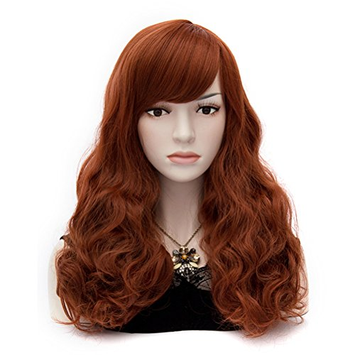 Amybria Women Costume Synthetic Bangs Wave Wig Full Wig Party Free Cap Red Brown (Red Wig With Bangs)