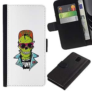 MobileX / Samsung Galaxy Note 3 III N9000 N9002 N9005 / Punk Skull Zombie / Cuero PU Delgado caso Billetera cubierta Shell Armor Funda Case Cover Wallet Credit Card