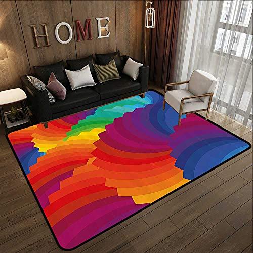 - Small Rugs,Colorful Home Decor,Gradient Dash Sea Shell Inspired Wavy Dimension Palette Stripes Artisan,Multi 59