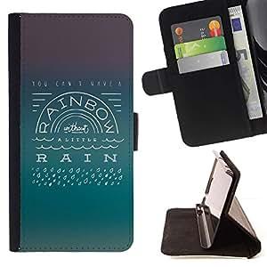 Momo Phone Case / Flip Funda de Cuero Case Cover - Rainbow Rain Actitud Positiva Cita Vida - Samsung Galaxy S6 Active G890A