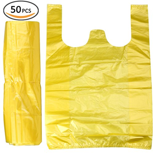 Plinrise Handle Garbage Rubbish Trash Wastebasket Bags small Size,Great for Indoor Office,living Room, Bedroon,Car,50 Counts/Rolls,Size: 16 x 24 Inch, (Yellow 3 Gallon)