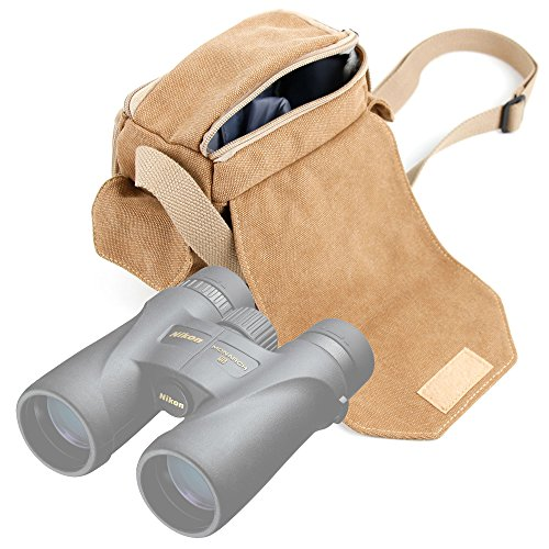 DURAGADGET Light Brown Medium Sized Canvas Carry Bag for Nikon Monarch 5 8x42 / 12x42 / 10x42 Binoculars - with Multiple Pockets & Customizable Interior Compartment