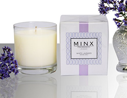 White Lavender & Mint Scented Aromatherapy Spa Candle by MINX Fragrances® | Relax with this Calming Scent | Made with Essential Oils | Great Gift Idea for Mom | Made in the USA