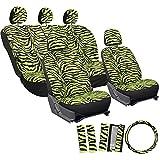 2005 ford escape zebra - Motorup America Zebra Auto Seat Cover - Animal Print Full Set - Fits Select Vehicles Car Truck Van SUV - Green