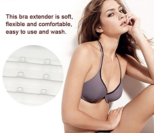 5 Hook Bra Extenders For Women, Quality Comfortable Bras Extension White,4 Pack by N NAANSI (Image #2)