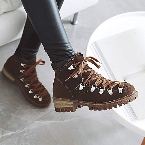 Color Scrub Martin Leisure Women Short Shoe Brown Holywin Tube Low Platform Solid Boots Heeled 0a8PwqPp