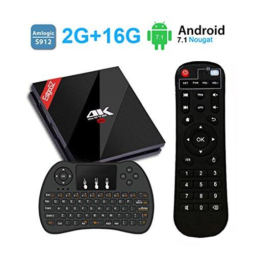 Android 7.1 TV Box+Wireless Keyboard EstgoSZ 4K Smart TV Box 2G+16G Amlogic S912 8 Core CPU Support 2.4G/5G Dual Wifi/1000M LAN/BT 4.1 by EstgoSZ