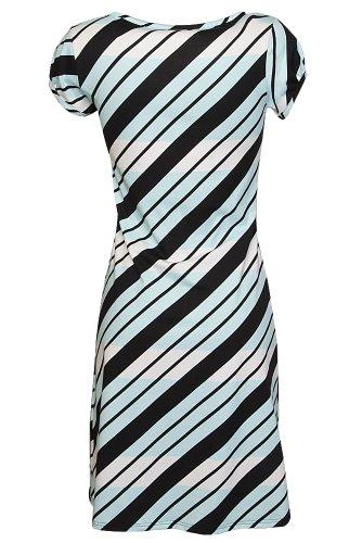 Nanso - Vestido - vestido - Manga Corta - para mujer Weiss-Hellblau-Schwarz