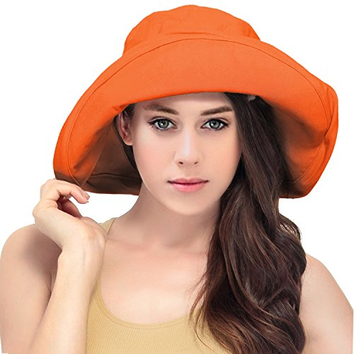 Women's Summer Cotton Bucket Beach Hat w/ Wide Fold-Up Brim,Orange