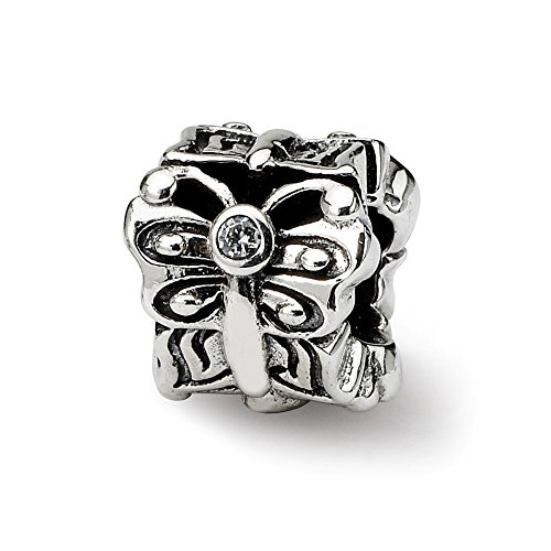 925 Sterling Silver Charm For Bracelet Butterfly Cubic Zirconia Cz Bali Bead Nature Animal Stone Crystal Ed Clear Fine Jewelry Gifts For Women For ()