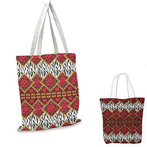 nurse tote bag Safari African Animal Skin Stylized Stripes in Diamond Pattern Native Tribal Artwork Red and Brown travel tote bag - Envirosax Animal