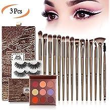 MAGEFY Makeup Set of 15Pcs Makeup Brushes 2 Pairs Eyelashes 9 Colors Eyeshadow Palette for Natural Look Professional Eye Makeup Tool Brush Set Eyeshadow Blush Brush