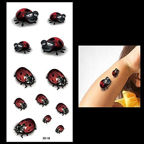 Oottati Tatuajes Temporales 3D Mariquita Linda (2 hojas): Amazon ...