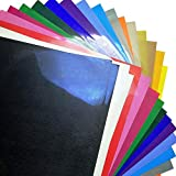 """Heat Transfer Vinyl for T-Shirts,20 Sheets 12""""x 12"""" 18 Assorted Colors,Best Iron On HTV Vinyl for Silhouette Cameo, Die-Cut,Heat Press"""