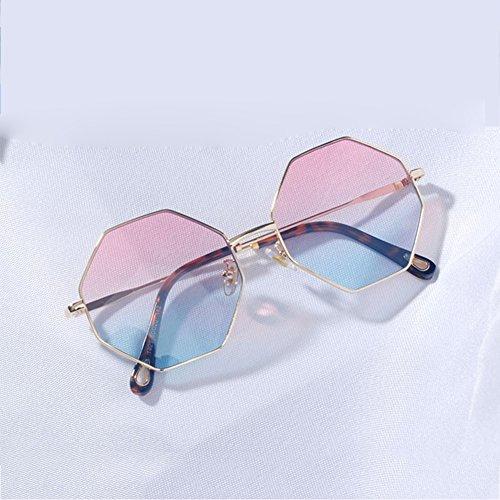 WLHW de Gafas Retro Mujer Azul Metal Tea Té Hombre Color Octagonal Gafas Poligonal Gris Azul Personalidad sol Amarillo Hipster EndxPUd