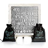 Gray Felt Letter Board with Easel Stand 10 x 10 | 718 Changeable Characters Including 1 inch and ¾ Letters, Symbols, Emojis Hashtag + More | Hook to Hang | 2 Bags (Grey W/Antique Frame)