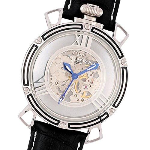 TOMORA TOKYO(トモラ トウキョウ) 腕時計 日本製 手巻き ラウンドフェイス シルバー×ブラック ブラックレザーベルト T-1607SB-BK2 メンズ (ブラック2) B071CKTHY9 ブラック2 ブラック2
