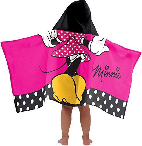 Jay Franco Disney Minnie Mouse Classic Super Soft & Absorbent Kids Hooded Bath/Pool/Beach Towel - Fade Resistant Cotton Terry Towel 22.5 Inch x 51 Inch (Official Disney Product)