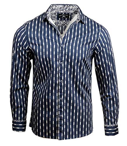 Men's Long Sleeve Shirt in Navy Abbey Road 208N (XL)