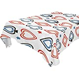 Jennifer Funny Poker Cards Pattern Tablecloth for Dining-table Good Decor for Dining Room Square Table Cover for Kitchen, 54x54 inches