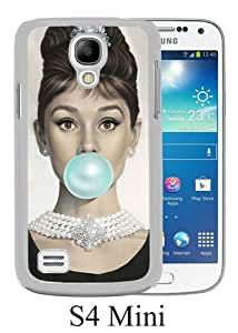 Lovely And Unique Designed Case For Samsung Galaxy S4 Mini With Audrey Hepburn White Phone Case