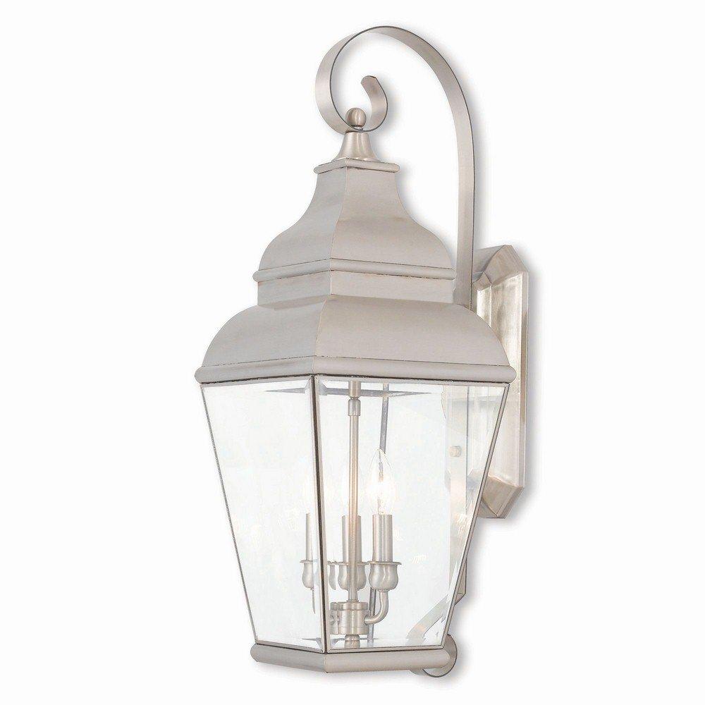 Livex Lighting 2593-91 Exeter 3 Light BN Outdoor Wall Lantern, Brushed Nickel by Livex Lighting