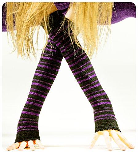 Black & Purple Striped Arm Warmer KD dance New York Sexy, Fashionable & Fingerless Arm Warmers Thumb Hole #MadeInUSA Happy New Year 2018 @KDdanceNewYork by KD dance New York (Image #2)