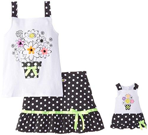ig Flower Bouquet Skirt Set, White/Black, 10 ()