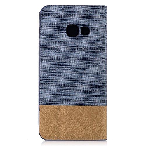 Funda Samsung Galaxy A3 (2017) Flip, Forhouse Prima Durbale Flip PU Cuero Billetera Carcasa Caso con [Función de Soporte] [Ranuras para Tarjetas] [Protectora Caja del Teléfono] Anti-Choques Anti-Gota  Azul