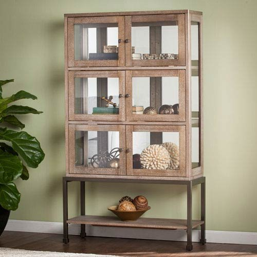 Southern Enterprises Lighted Contemporary Curio (China Cabinet Oak Glass)