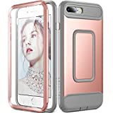 : iPhone 8 Plus Case, iPhone 7 Plus Case, YOUMAKER Full Body Heavy Duty Protection Shockproof Case With Built-in Screen Protector for Apple iPhone 8 Plus 2017/iPhone 7 Plus 2016 5.5 inch -Rose Gold/Gray