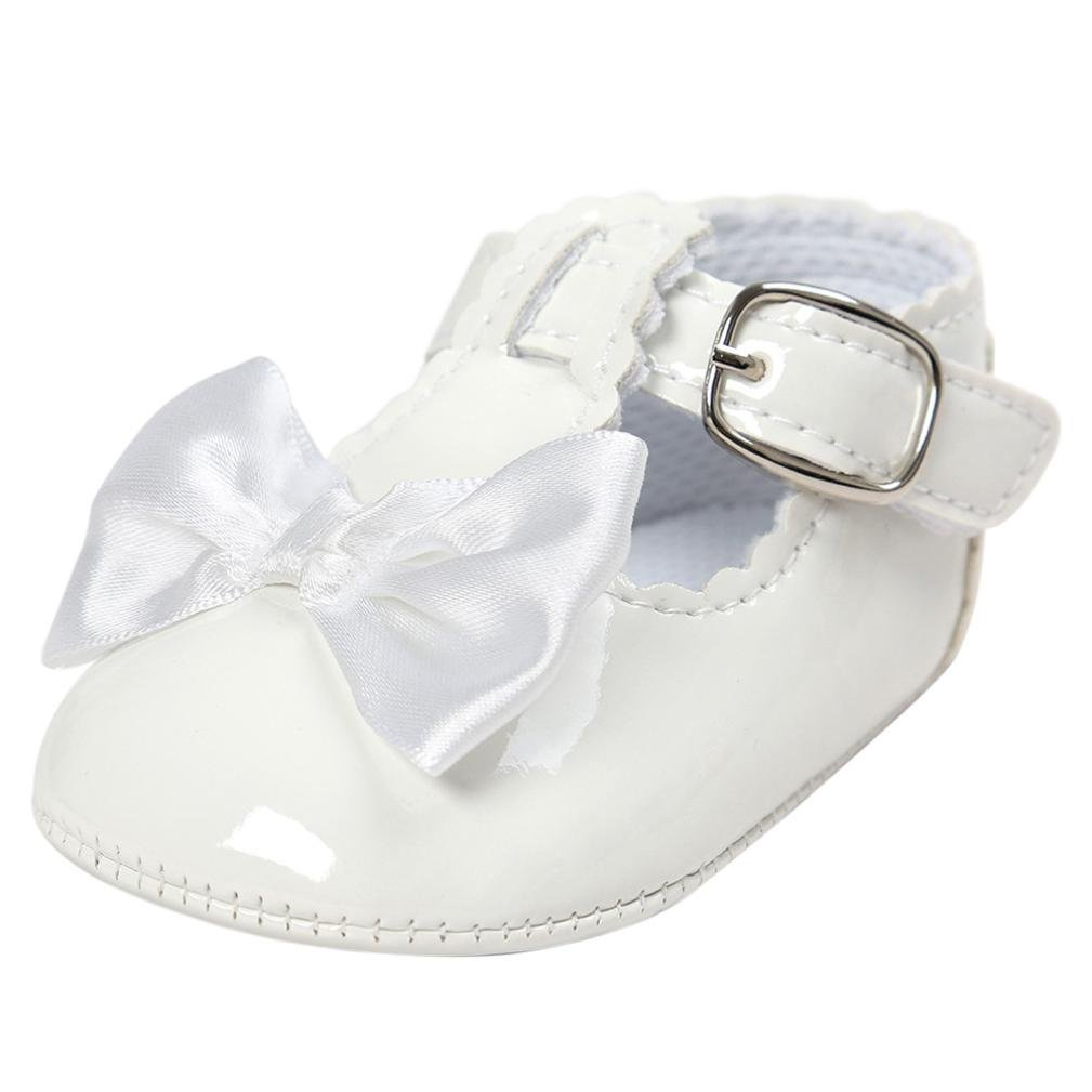 Jamicy Baby Girls Princess Bowknot Design Leather Soft Sole Casual Shoes (0~6 Month, Navy)