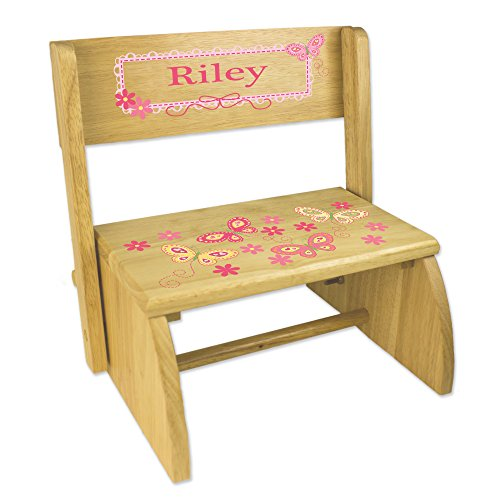 (Personalized Natural Flip and Folding Step Stool with Yellow Butterflies Design)