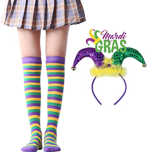 Over Knee Long Sock Striped Mardi Gras Socks St. Patrick's Day Stockings (Mardi Gras Socks Clown Headband Sets)]()