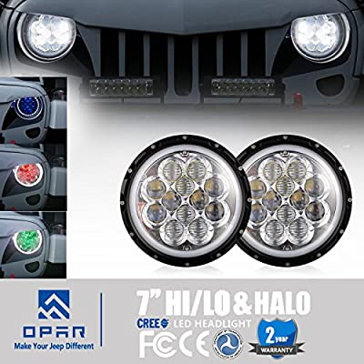 "opar 7"" Bluetooth App RGB Halo Angel Eyes Headlight DRL w/Turn Signal Function for 97-18 Jeep Wrangler JK TJ & Wrangler Unlimited"