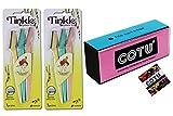 Tinkle Eyebrow Razor for Beautiful Eyebrows (6pcs) + COTU ® Nail Buffer Block (1 pcs)
