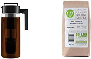 Takeya Patented Deluxe Cold Brew Iced Coffee Maker with Airtight Seal & Silicone Handle, 2 Quart & Tiny Footprint Coffee - Organic Cold Brew Cold Press Elixir | Ground Coffee | 16 Ounce