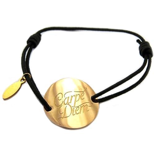 ec4dccd2d2f2 Les Trésors de Lily P6586 - Pulsera de acero negro y dorado  Messages  en
