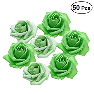 Tinksky 50pcs Artificial Floral Foam Roses Flowers for Home Wedding Arrangement Bouquet Decoration (Grass Green) 84