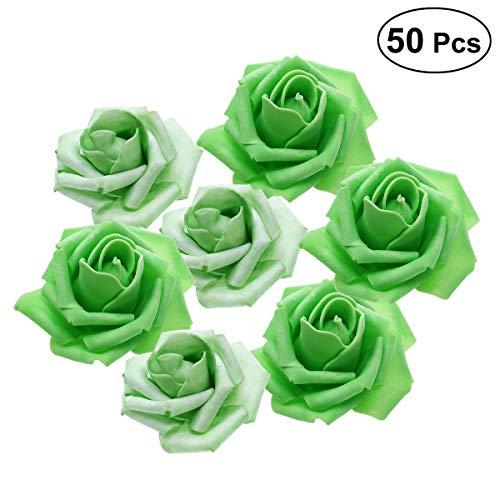 Tinksky 50pcs Artificial Floral Foam Roses Flowers for Home Wedding Arrangement Bouquet Decoration (Grass Green)