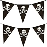 VALUE TWIN PACK Black & White Colour Pirate Skull & Crossbones Pennant Bunting Indoor/Outdoor Party...