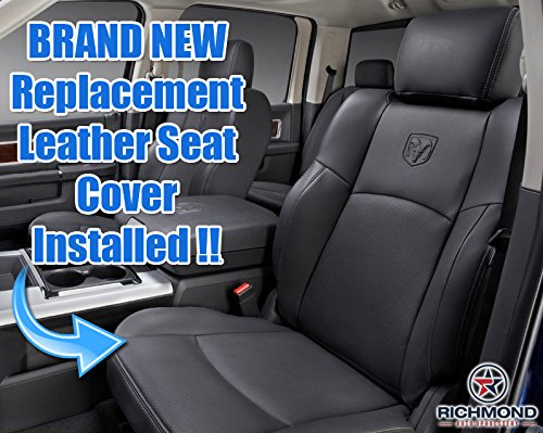 Richmond Auto Upholstery 2011 Dodge Ram 1500 Laramie Crew-Cab Driver Side Bottom Replacement Perforated Leather Seat Cover Dark Gray