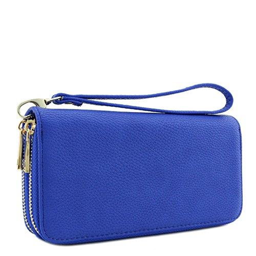 Womens Wallet Blue (Double Zip Around Wristlet Wallet (Royal Blue))