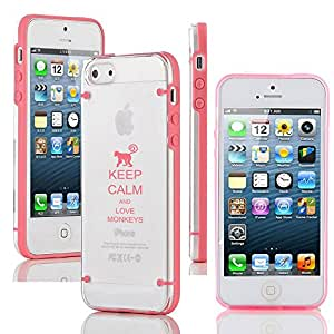 Apple iPhone 5c Ultra Thin Transparent Clear Hard TPU Case Cover Keep Calm and Love Monkeys (Pink)