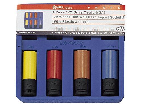 Genius Tools 4 Piece Metric & SAE Car Wheel Thin Wall Deep Impact Socket Set CW-404MS