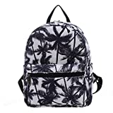 #9: Urmiss Small Flowers Floral Leaf Graffiti Printed Canvas Casual Backpack Travel Shoulder Bag Students Schoolbag Rucksack for Kids Girls Boys and Women